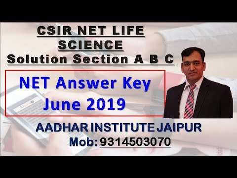 CSIR NET LIFE SCIENCE ANSWER key june 2019 pdf Download