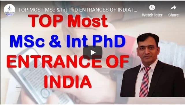 MSc & p.hd entrance aadhar institute