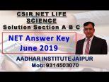 CSIR NET LIFE SCIENCE ANSWER key june 2019 pdf Download