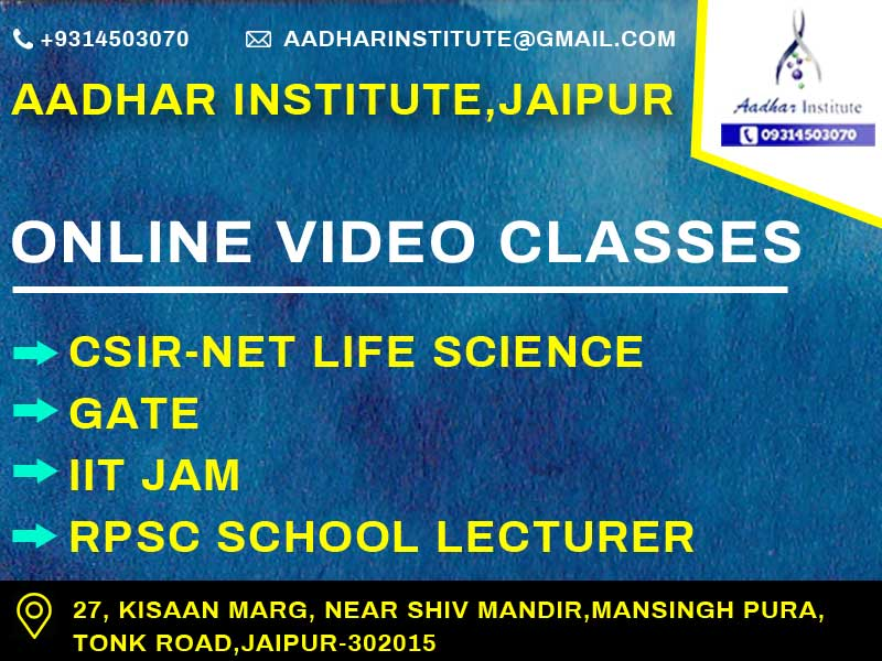 online video classs for csir net life science, gate , iit jam, rpsc school lecturer